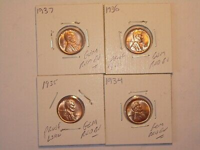 wheat penny 1934,1935,1936,1937 GEM RED BU P SET LINCOLN CENT UNC RED LUSTER
