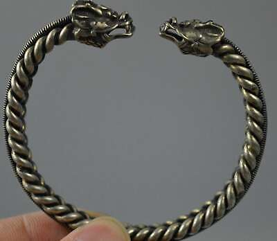 China Collectable Handwork Old Miao Silver Carve Dragon Head Tibet Old Bracelet