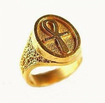 LOOK Ankh Egyptian Sterling Silver 925 Ring 24kt Gold Plated Egypt Celtic