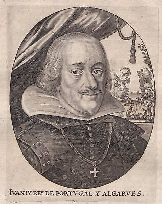 1650 Joao IV de Portugal Algarves Portrait Kupferstich antique print Merian