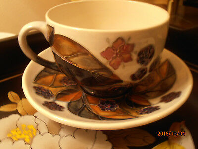 Moorcroft Bramble Blackberries Teacup and Saucer Superb Condition Mint Cond