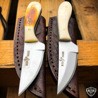 "2PC 4.75"" Hunting Fixed Blade Full Tang Skinning Neck Knife Bone + Sheath NEW"