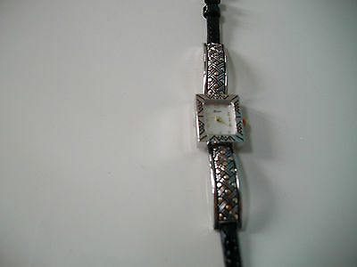 Western Style Black Leather Band Silver & Gold Tone Watch