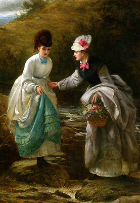 Oil painting portraits two young womenholding flowers basket go through creek