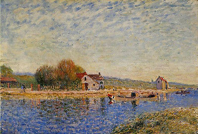 Perfect Oil painting Alfred Sisley - The Loing Canal at Saint-Mammes no framed
