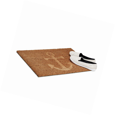 Relaxdays Anchor Coir Doormat, HxWxD: 1.5 x 60 x 40 cm, Nonslip, Rectangular, fo