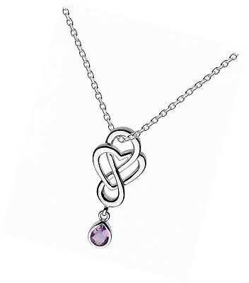 Heritage Sterling Silver and Stone Celtic Looped Heart Necklace of Length 45.7 c
