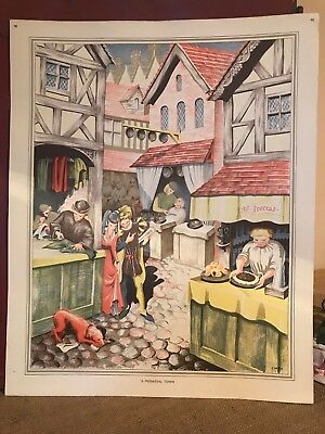 Vintage Macmillan School Poster A Medieval Town History Lithograph Print Picture