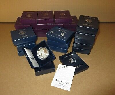 (27)  AMERICAN EAGLE ONE OUNCE PROOF SILVER COINs w/COA 1986-2015