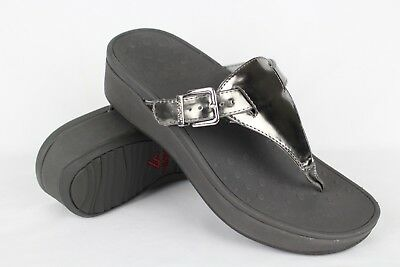 3e4860912312 Vionic Orthaheel Women s Cooper Wedge Thong Sandals Size 8 Pewter