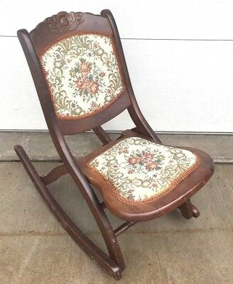 Victorian Rocking Chair Folding Wood Oak Rocker Floral Rose Tapestry Antique