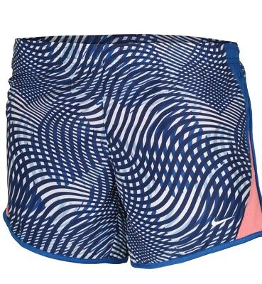 NIKE Big Girls' (7-16) Dri-Fit 10K Allover Print Running Short Blue/Coral LARGE