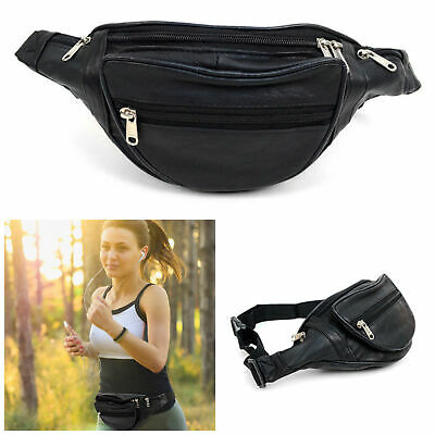 Black Leather 5 Zippers Casual Waist Fanny Pack Sport Bag Crossbody Nw Indiana