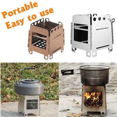 Outdoor Wood Stove Mini Portable BBQ Grill Survival Camping Burning Cooking