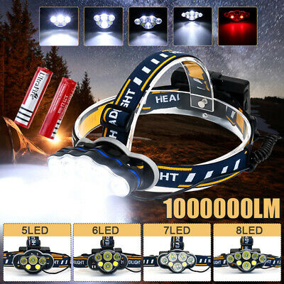 1000000LM High Power T6 LED Rechargeable Headlight Headlamp Flashlight USB 18650