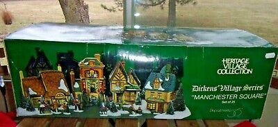 Dept 56 Dickens' Village Series - MANCHESTER SQUARE - Set of 25- NIB