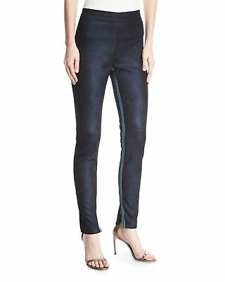 ELIE TAHARI  Roxanna Suede Stretch Leggings Denim Blue XL NWT $998