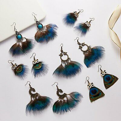 Bohemia Boho Feather Owl Tassel Drop Dangle Earrings Ear Hook Womens Jewelry