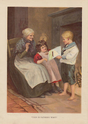 Victorian Boy In Sailor Suit Holding Drawing Of Boat Antique Lithograph 1899