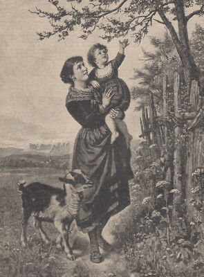 Kid Goat With Lady Holding Baby Girl Antique Art Print 1878