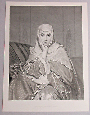 Beautiful Middle Eastern Lady Holding Peacock Feather Fan Antique Art Print 1888