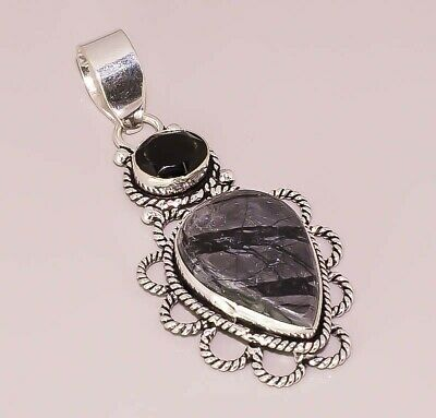 Picasso Jasper Onyx Quartz Jewelry 925 Sterling Silver Plated Pendant