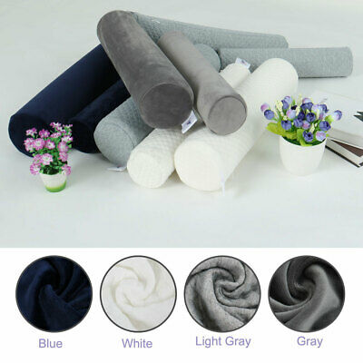 Round Memory Foam Pillow Cervical Bolster Neck Support Pillow Washable Cover