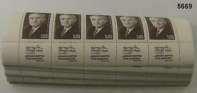 1975 Israel #561 Harry Truman Tab Strip/ 5 Mnh X 100 Original Pack #5669