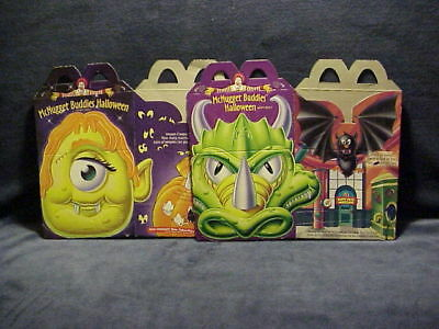 1996 Mc Donalds Halloween Mc Nugget Buddies 2 Happy Meal Boxes Never Used Htf
