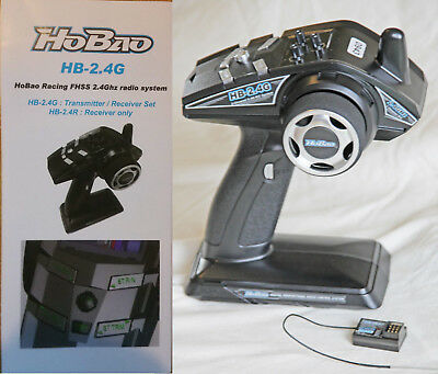 Hobao Racing FHSS 2.4 Ghz 3 channel radio transmitter, receiver, instructions