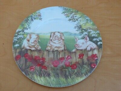 Collectable Fenton Bone China Pigs ~ By Ann Blockley Plate 22cms Free P&P