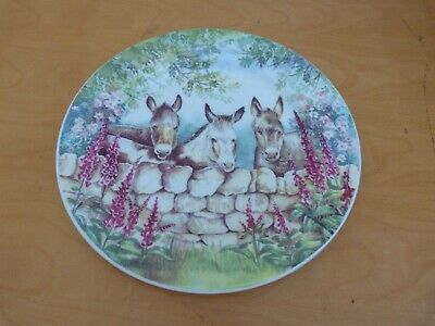 Collectable Fenton Bone China Donkeys ~ By Ann Blockley Plate 22cms Free P&P