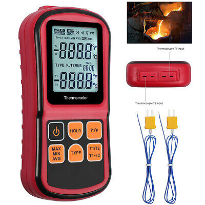 Digital Thermocouple Thermometer Temperature Dual-channel Backlight Meter Tester