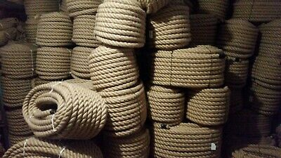 40mm Thick Natural Jute Hessian Rope Twisted Twine Decking Garden Boat Camping