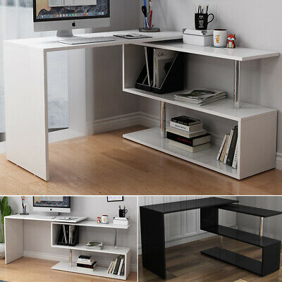 Rotatable L-Shaped Corner Computer Desk Compact Laptop Table Home Office Study