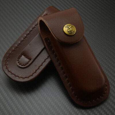 Comfortable Real Leather Sheath Pocket Case Folding Knife Carrying Sheaths Brown