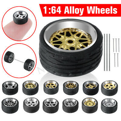 4x Alloy Wheels Tire Set Rims & Axles Car Refit Wheels For 1/64 Modified Vehicle