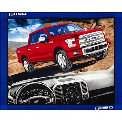 Ford F150 4x4 Red Pick Up Truck Large Cotton Fabric Panel