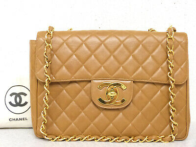 965211f5be78 r5695 Auth CHANEL Caramel Quilted Lambskin Jumbo CC Turn Lock Chain  Shoulder Bag