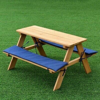 Pleasant Kids Picnic Table Bench Set With Blue Cushions Children Game Table Play Fun Download Free Architecture Designs Scobabritishbridgeorg