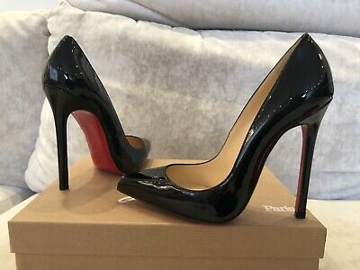 New Christian Louboutin Pigalle 120 Black Patent Heels Pump Shoe Kate Size 39 5