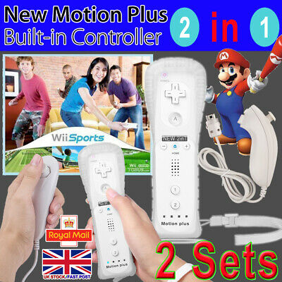 2Sets Wireless Motion Plus + Remote Controller Nunchuck For Nintendo Wii & Wii U