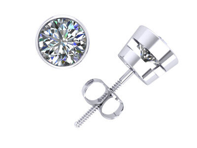 1.00Ct Round Cut Diamond Solitaire Stud Earrings 14k Gold Bezel GH I1 Screwback