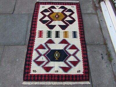 Old Traditional Hand Made Persian Oriental Wool White Red Small Kilim 137x85cm
