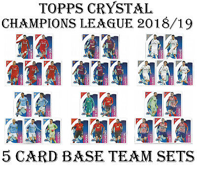 Topps CRYSTAL 2018/19 Champions League 5 CARD BASE TEAM SET