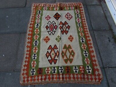Old Traditional Hand Made Persian Oriental Wool White Green Small Kilim 139x98cm