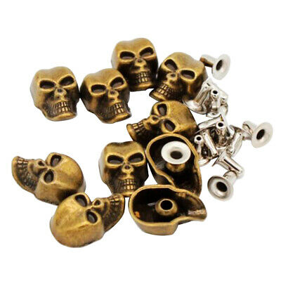 Prettyia 10 Sets Skull Shape Rivets Stud for Bag Jeans Decoration DIY 9x16mm