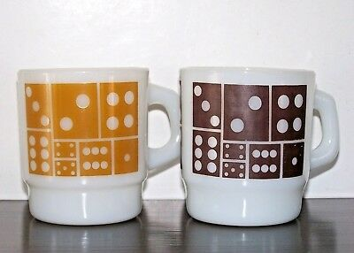 2 Vintage Anchor Hocking Fire King Milk Glass Coffee Mug Cup Stackable Domino