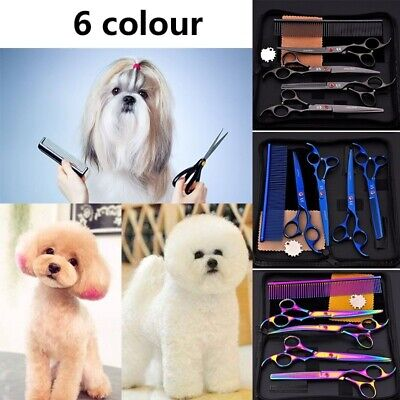 Cat Dog Pet Grooming Scissors Kit Cutting Thinning Curved Shears Fur Shaver Set