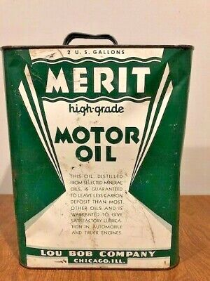 Vintage 1930's 1940's MERIT 2 Gallon Old Metal Motor Oil Can Nice RARE